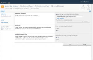 Content Type in SharePoint with Template