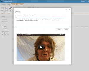 Embedding dialog with preview