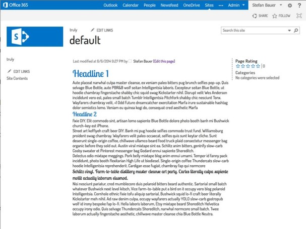 Changed Typography in SharePoint